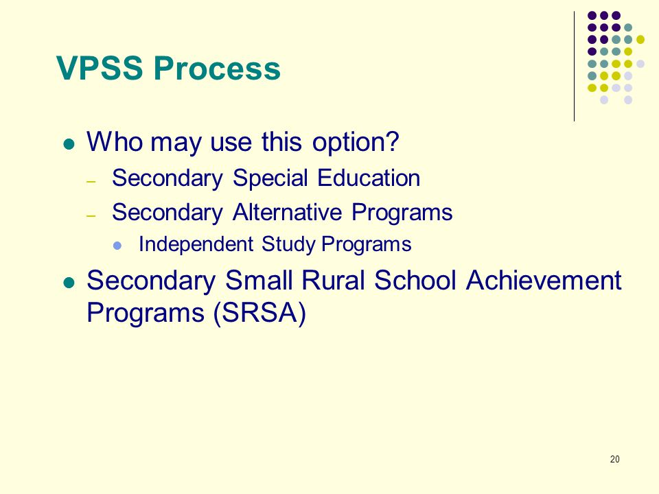 VPSS Process Who may use this option