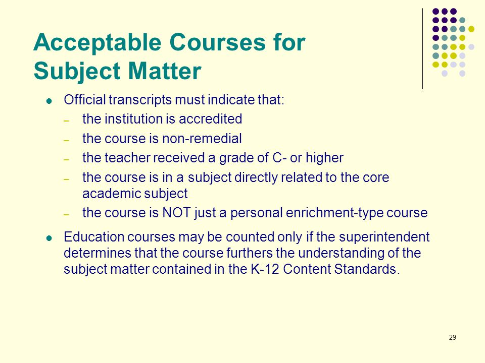 Acceptable Courses for Subject Matter