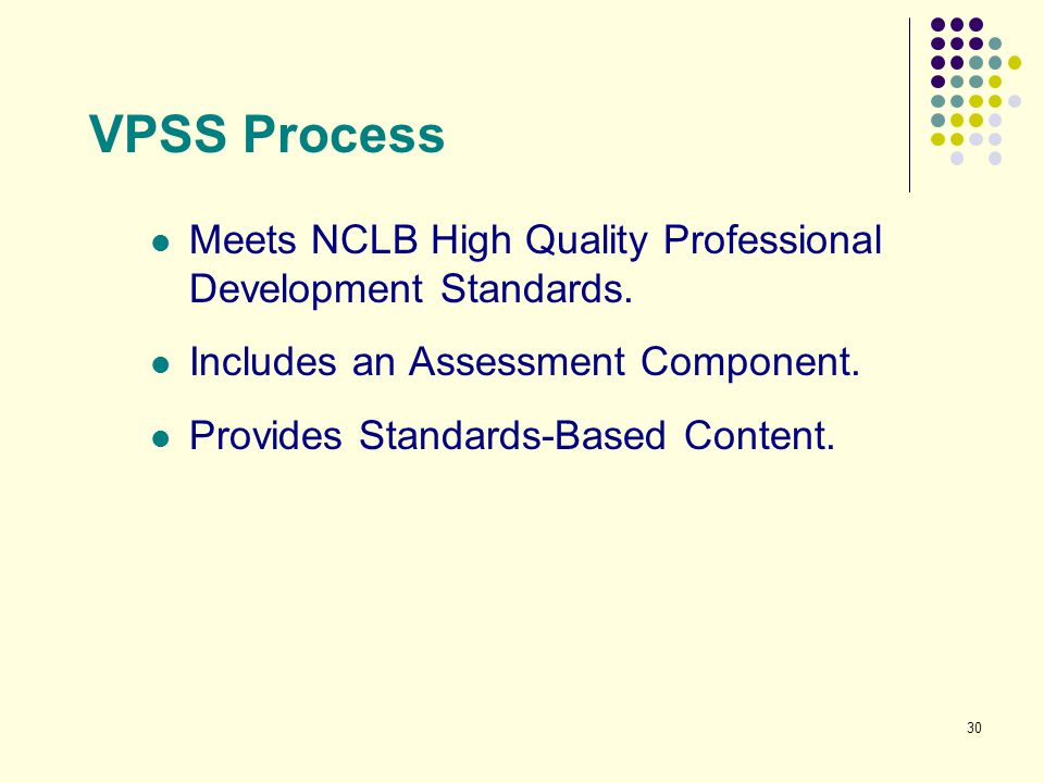 VPSS Process Meets NCLB High Quality Professional Development Standards. Includes an Assessment Component.