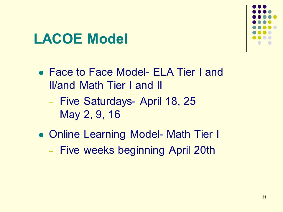 LACOE Model Face to Face Model- ELA Tier I and II/and Math Tier I and II. Five Saturdays- April 18, 25.