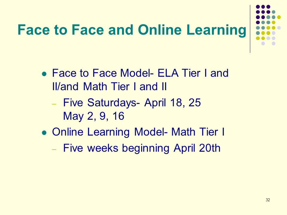 Face to Face and Online Learning