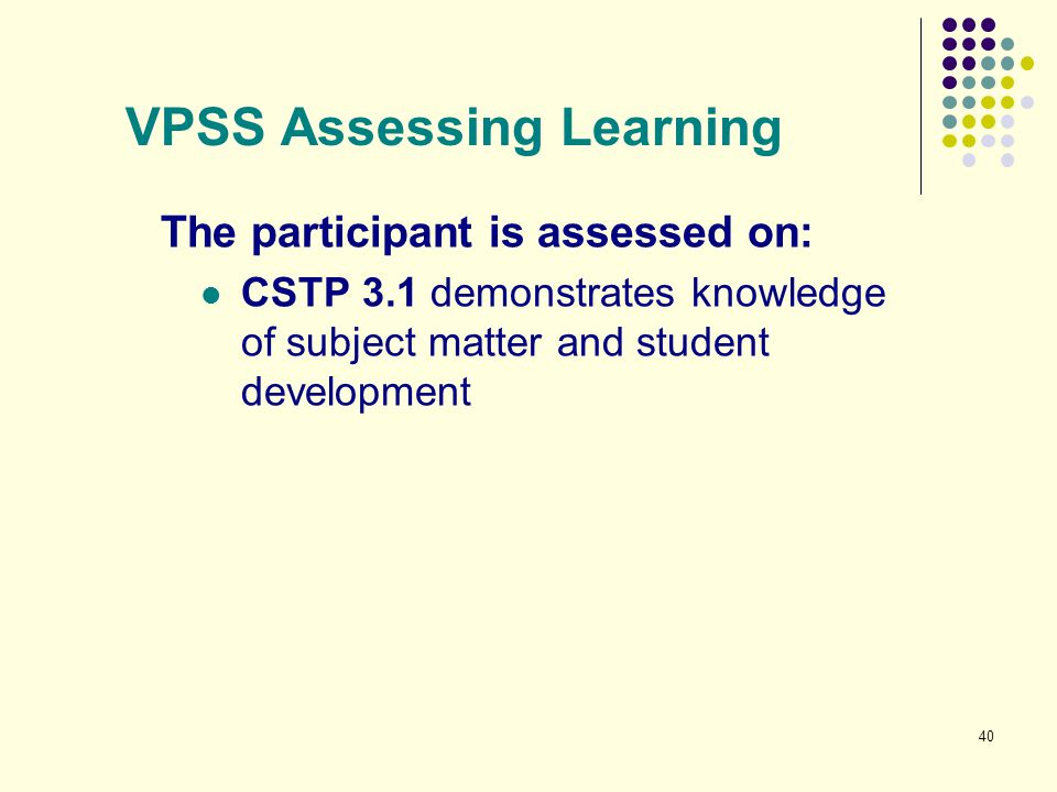 VPSS Assessing Learning