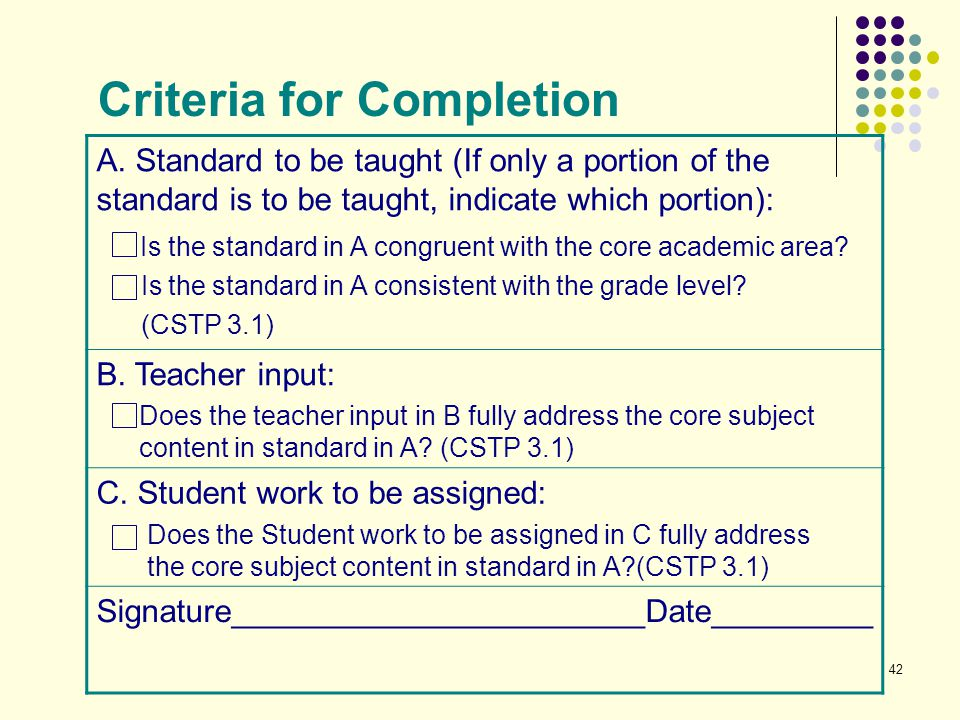 Criteria for Completion