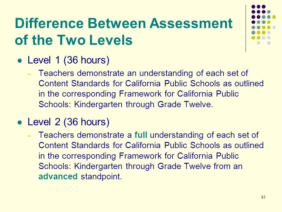 Difference Between Assessment of the Two Levels