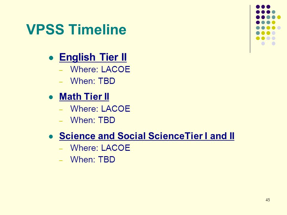 VPSS Timeline English Tier II Math Tier II