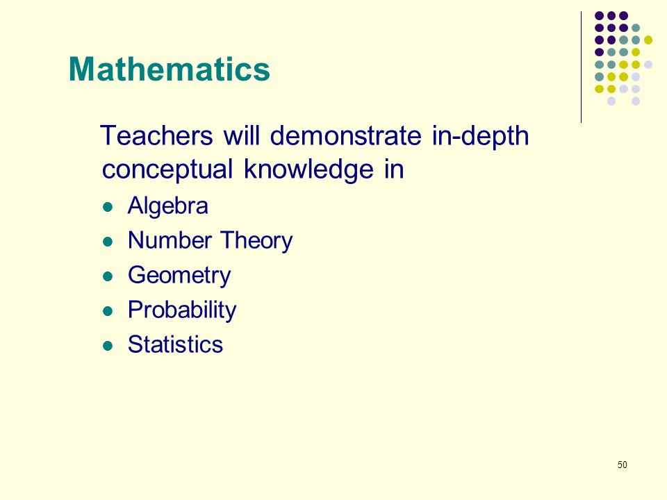 Mathematics Teachers will demonstrate in-depth conceptual knowledge in