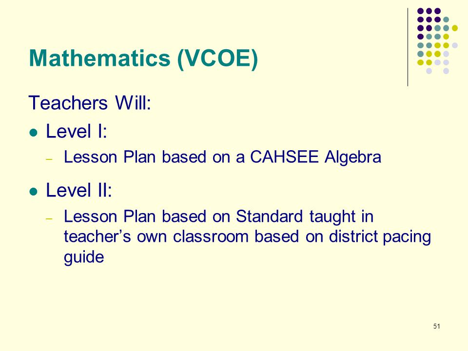 Mathematics (VCOE) Teachers Will: Level I: Level II: