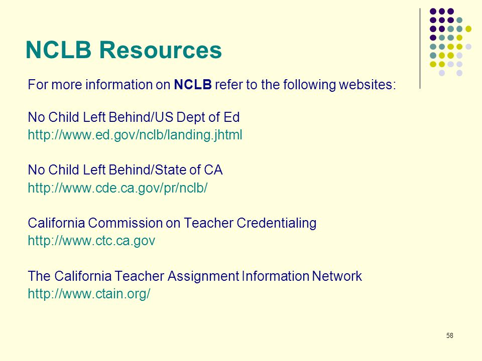 NCLB Resources For more information on NCLB refer to the following websites: No Child Left Behind/US Dept of Ed.