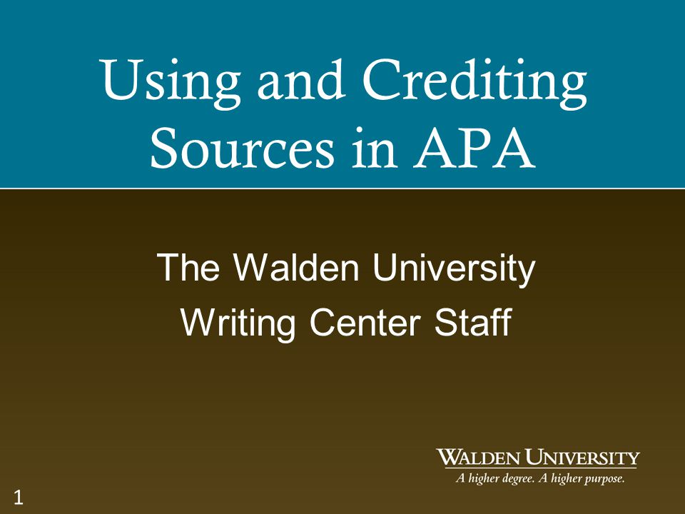 Using and Crediting Sources in APA