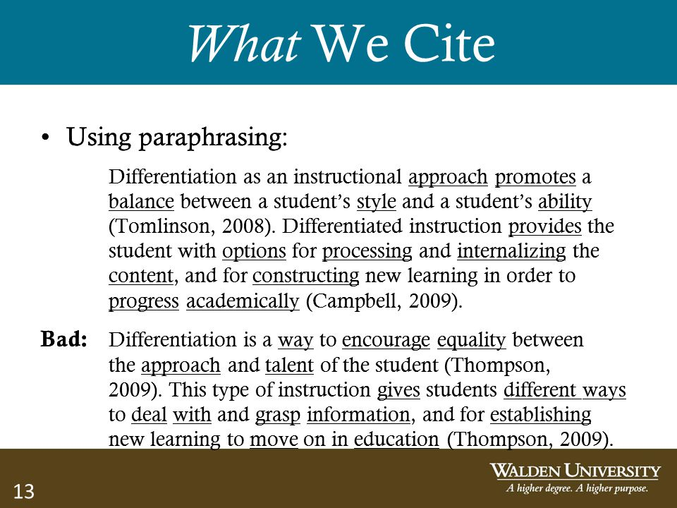 What We Cite Using paraphrasing: Using paraphrasing: