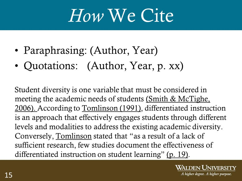 How We Cite Paraphrasing: (Author, Year)