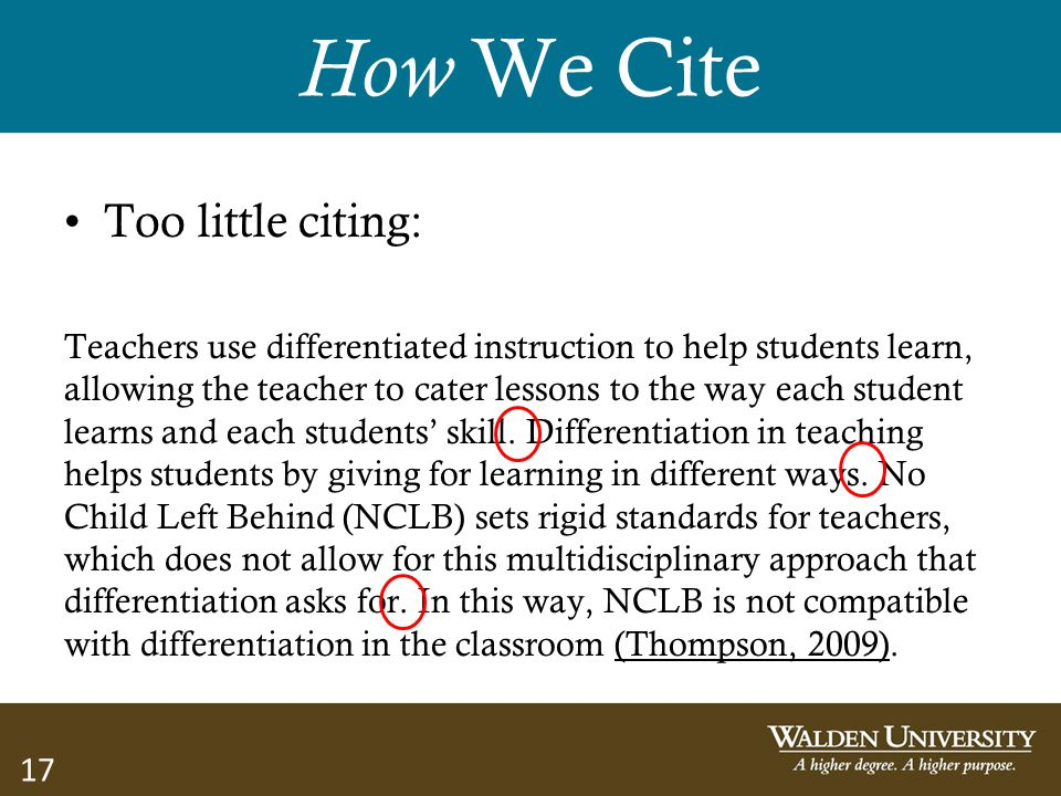 How We Cite Too little citing: