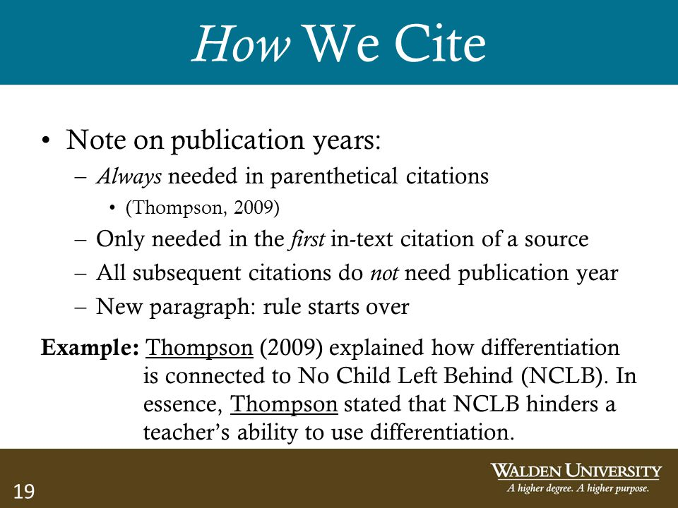 How We Cite Note on publication years: