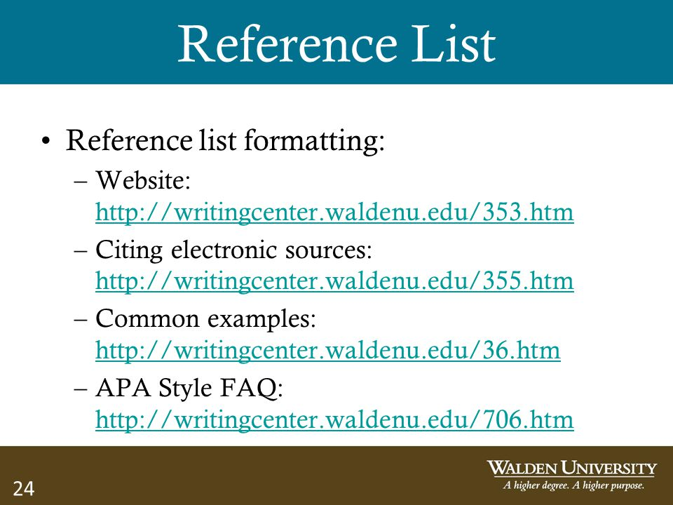 Reference List Reference list formatting: