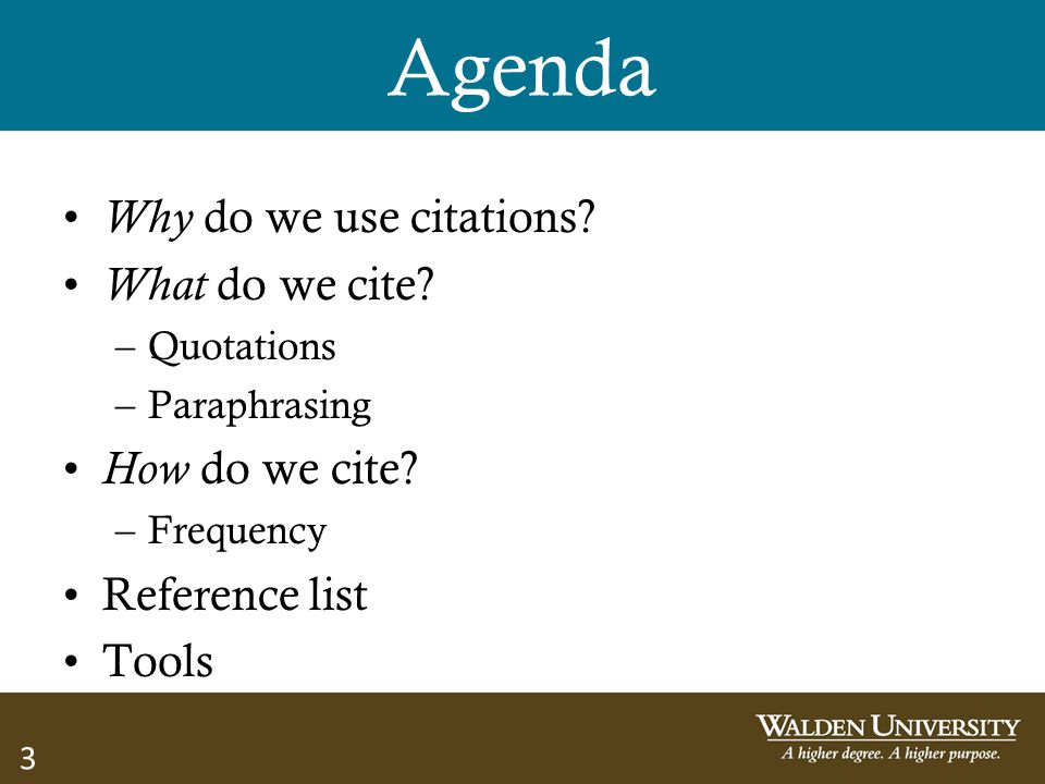 Agenda Why do we use citations What do we cite How do we cite