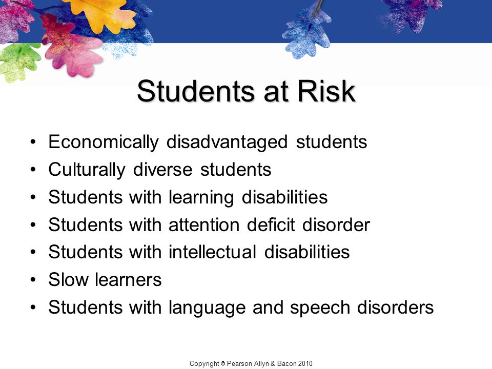 Students at Risk Economically disadvantaged students
