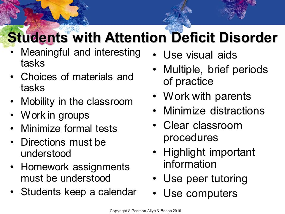 Students with Attention Deficit Disorder