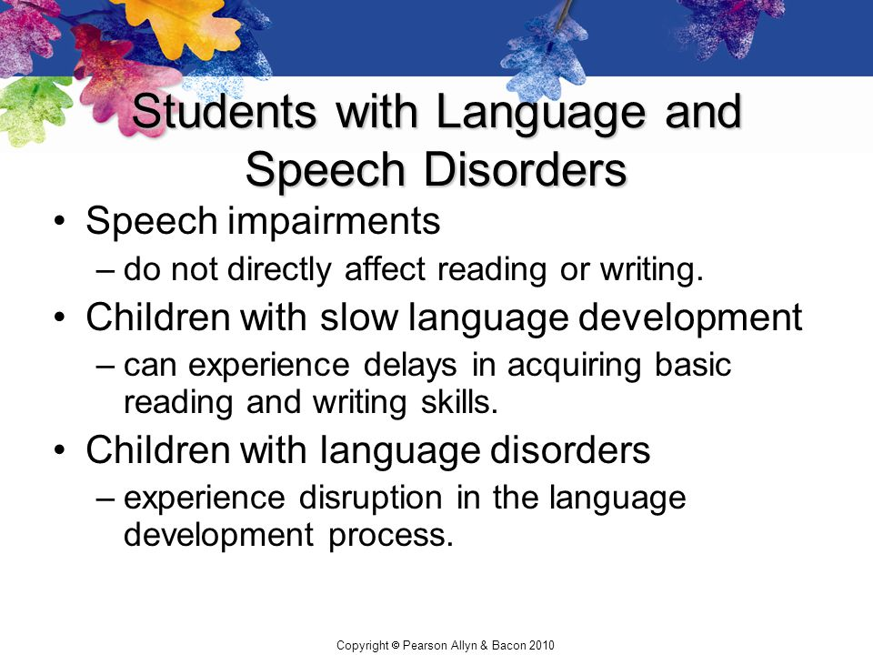 Students with Language and Speech Disorders