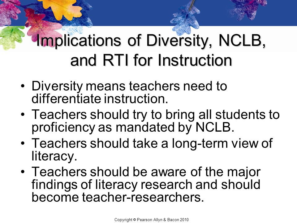 Implications of Diversity, NCLB, and RTI for Instruction