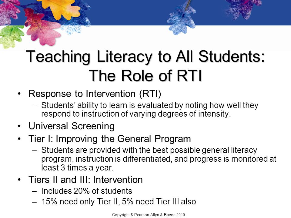 Teaching Literacy to All Students: The Role of RTI