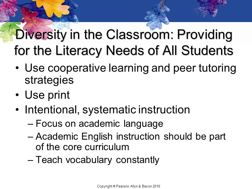 Diversity in the Classroom: Providing for the Literacy Needs of All Students