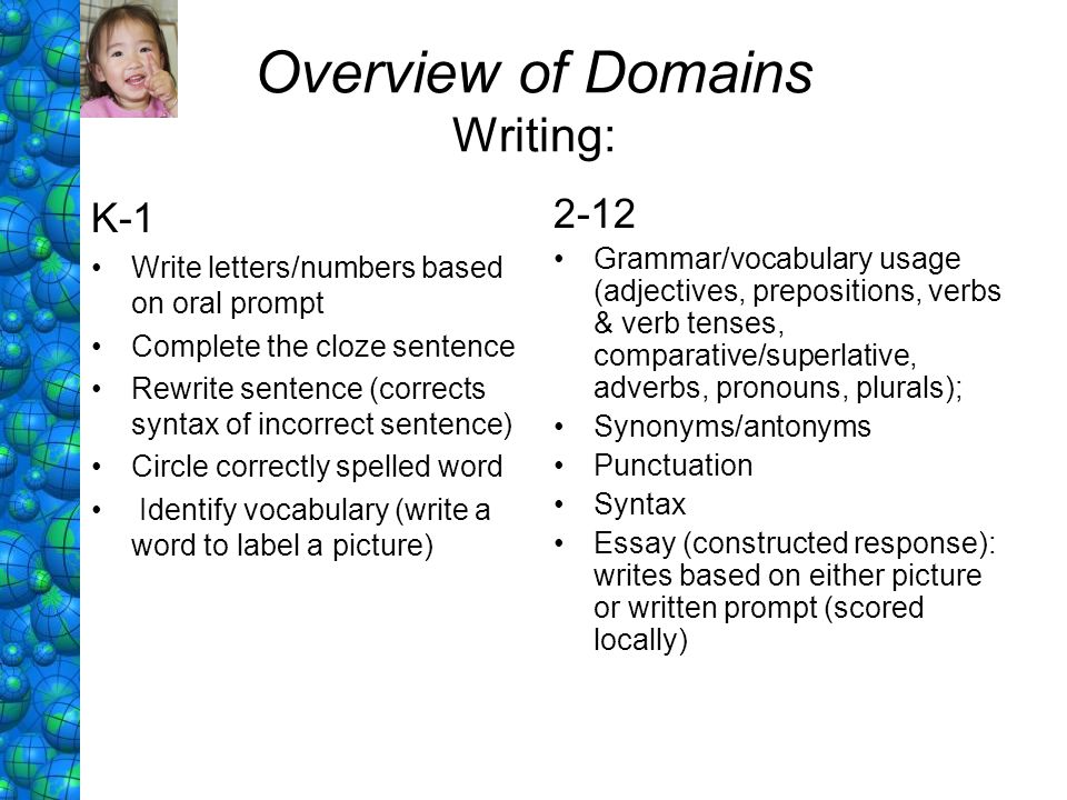 Overview of Domains Writing:
