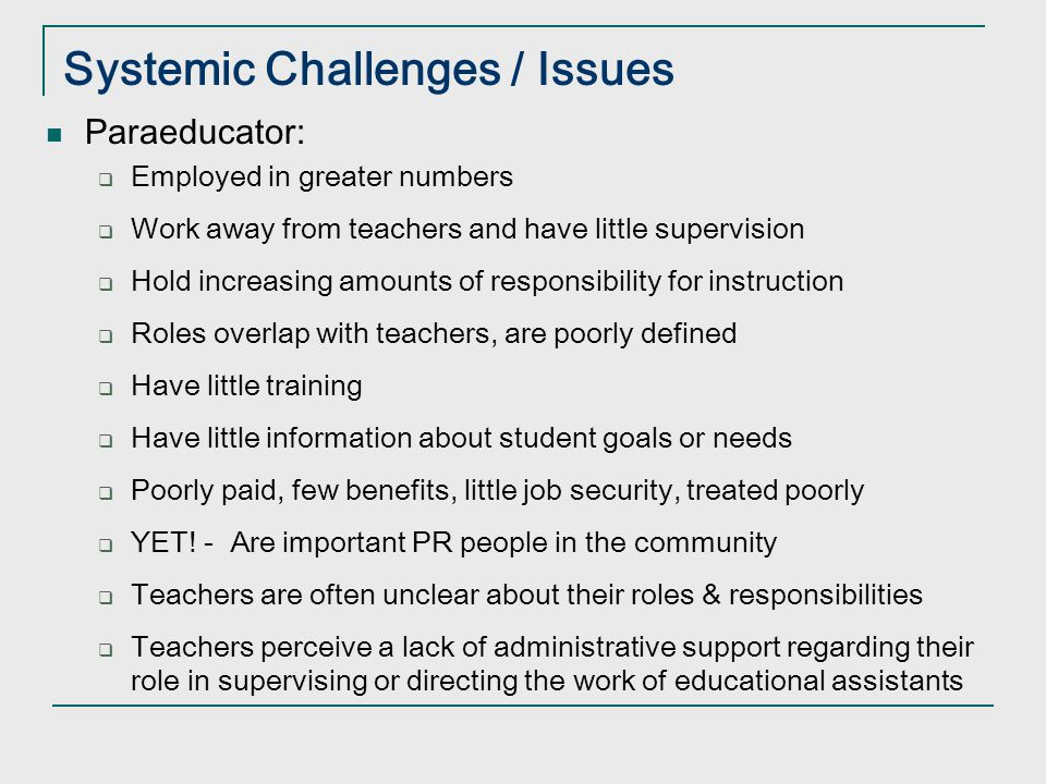 Systemic Challenges / Issues