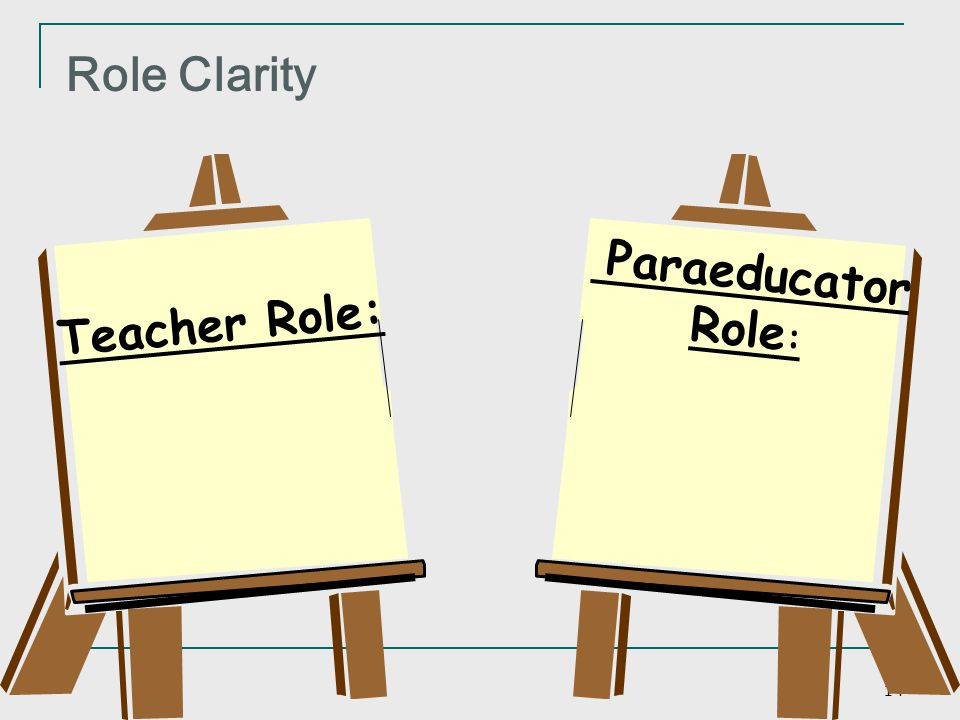 Role Clarity Paraeducator Role: Teacher Role: