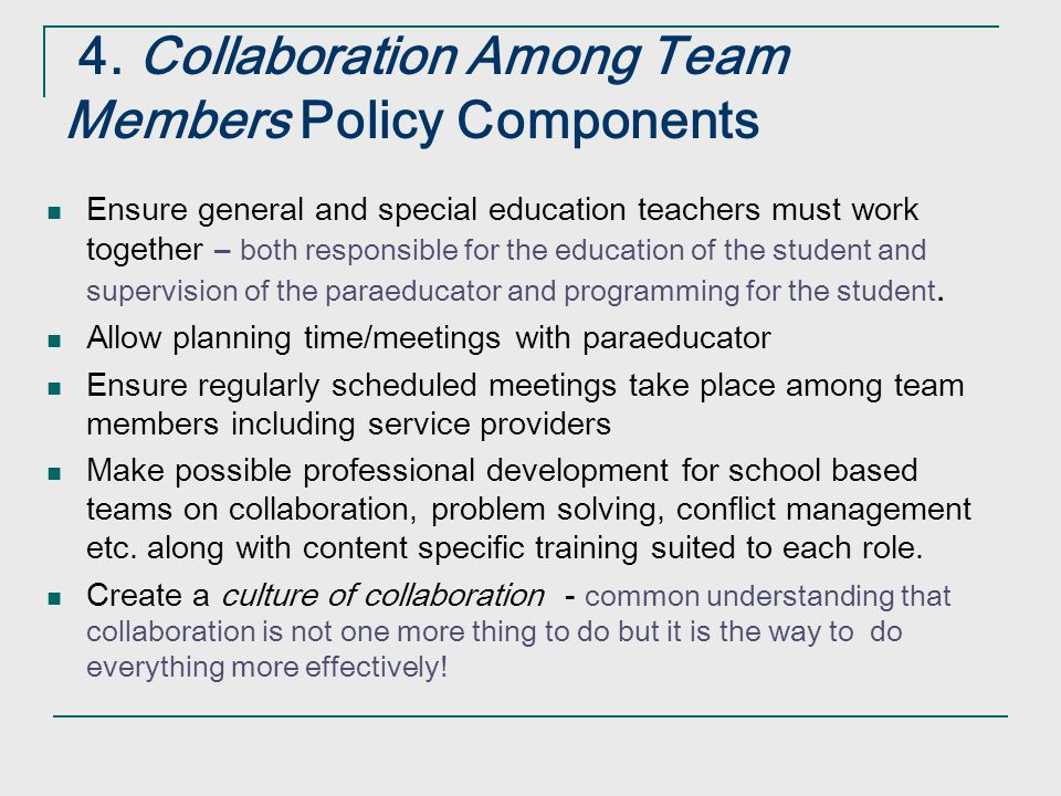 4. Collaboration Among Team Members Policy Components