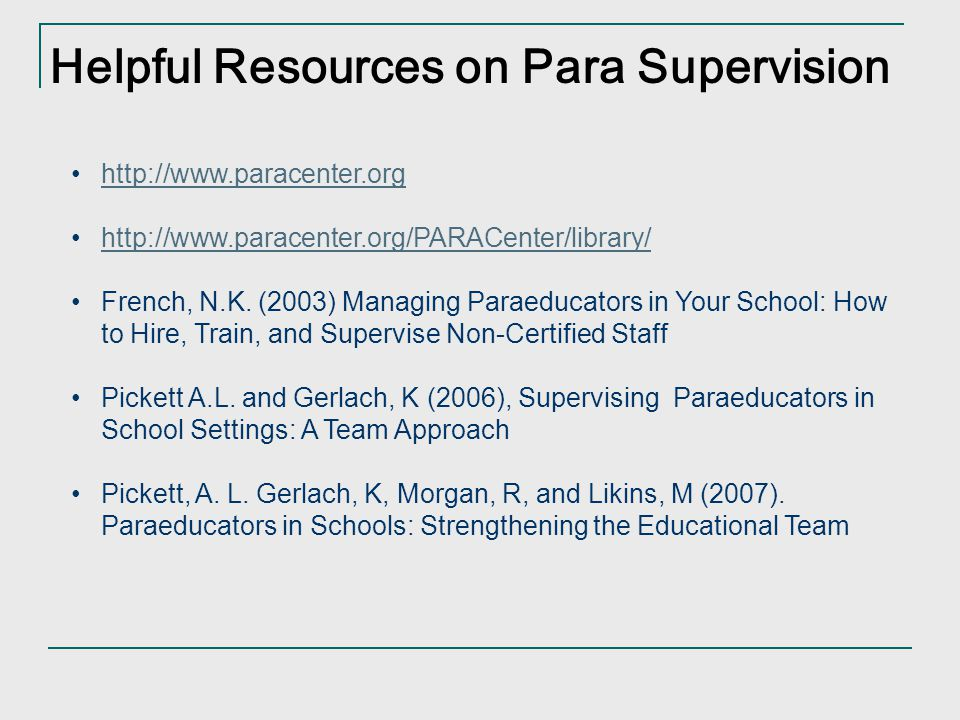 Helpful Resources on Para Supervision
