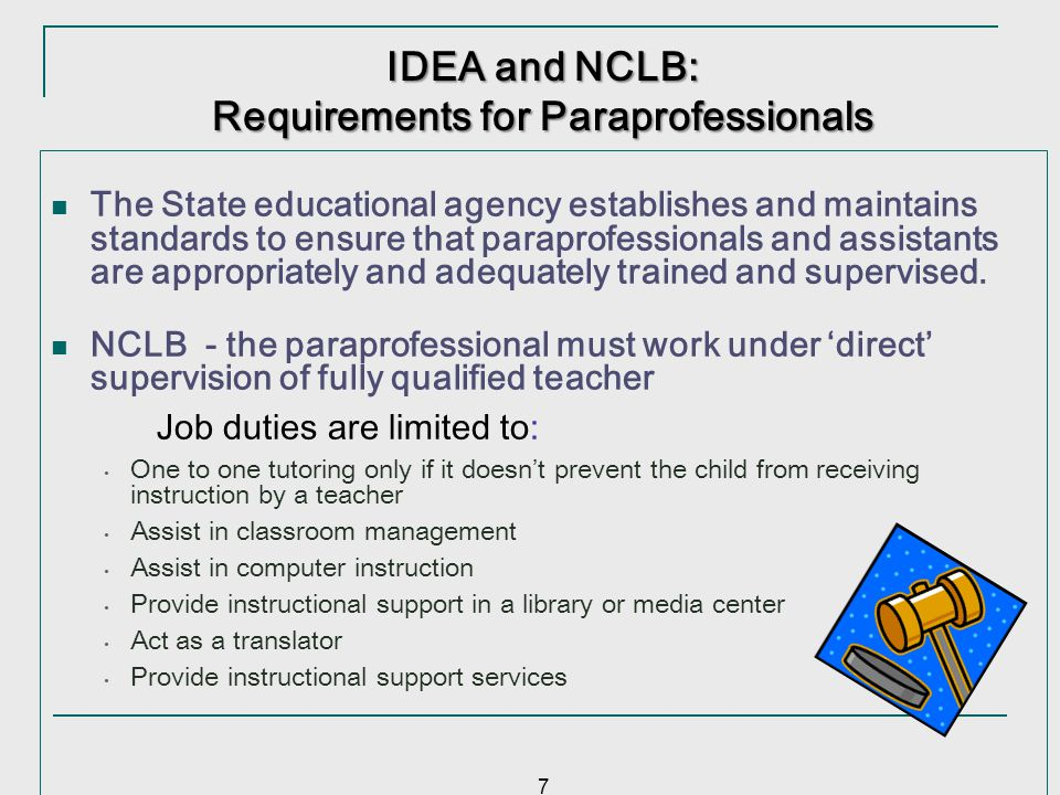 Requirements for Paraprofessionals