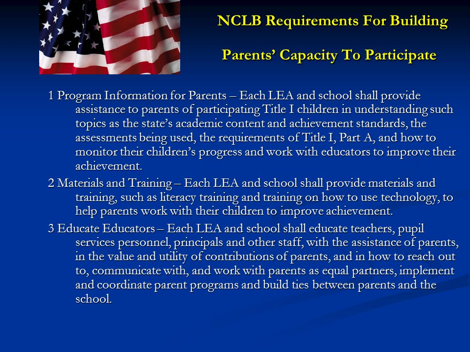 NCLB Requirements For Building Parents' Capacity To Participate