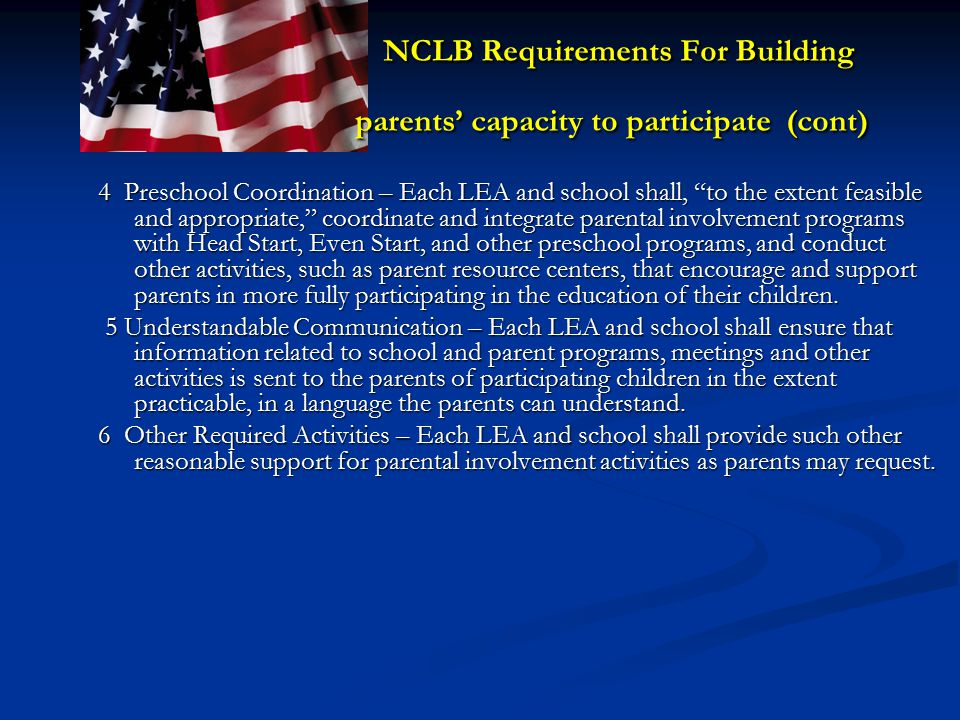 NCLB Requirements For Building parents' capacity to participate (cont)
