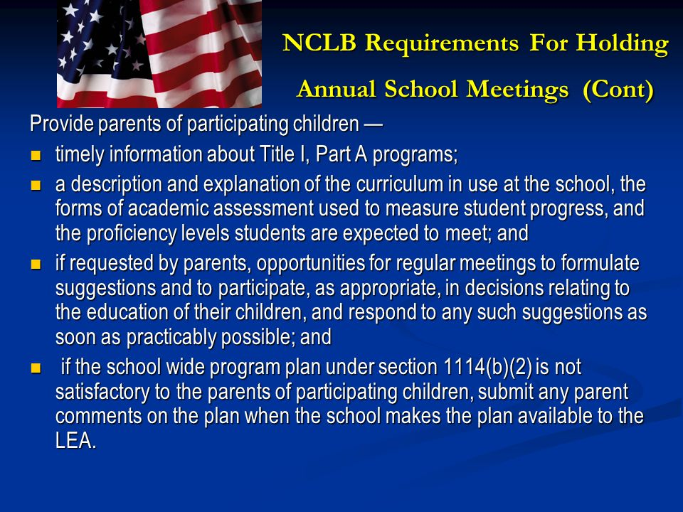 NCLB Requirements For Holding Annual School Meetings (Cont)