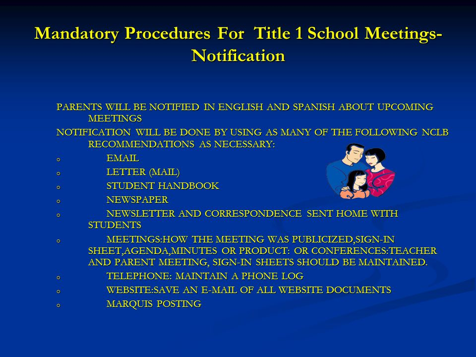 Mandatory Procedures For Title 1 School Meetings-Notification