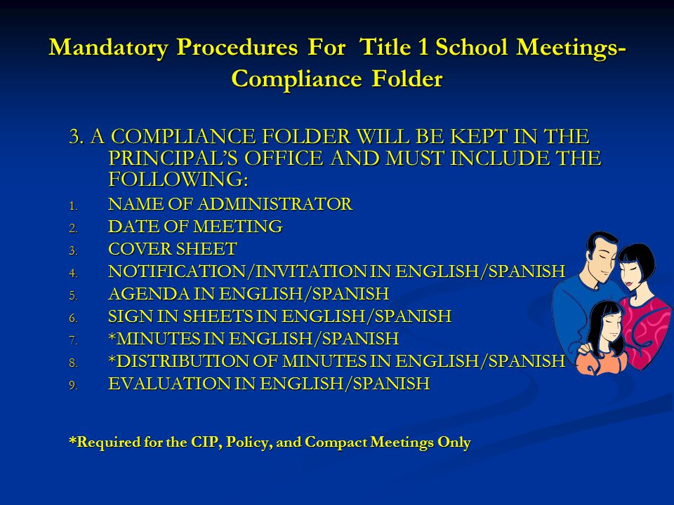 Mandatory Procedures For Title 1 School Meetings-Compliance Folder