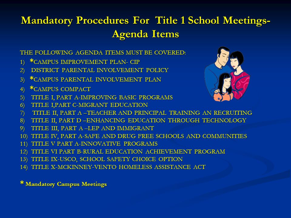 Mandatory Procedures For Title 1 School Meetings-Agenda Items