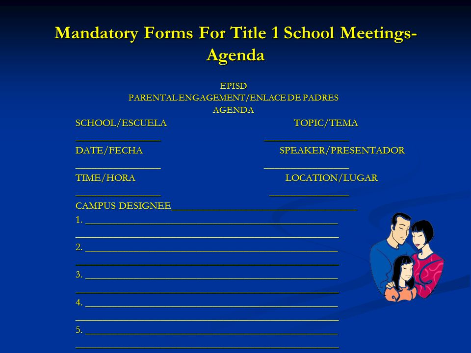 Mandatory Forms For Title 1 School Meetings-Agenda