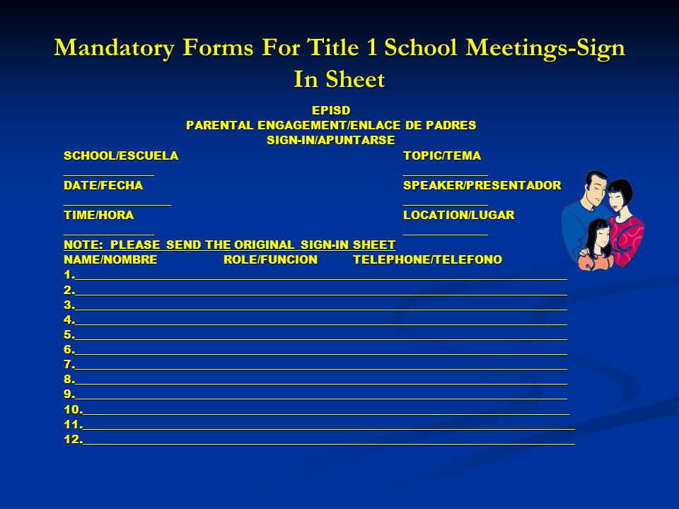 Mandatory Forms For Title 1 School Meetings-Sign In Sheet