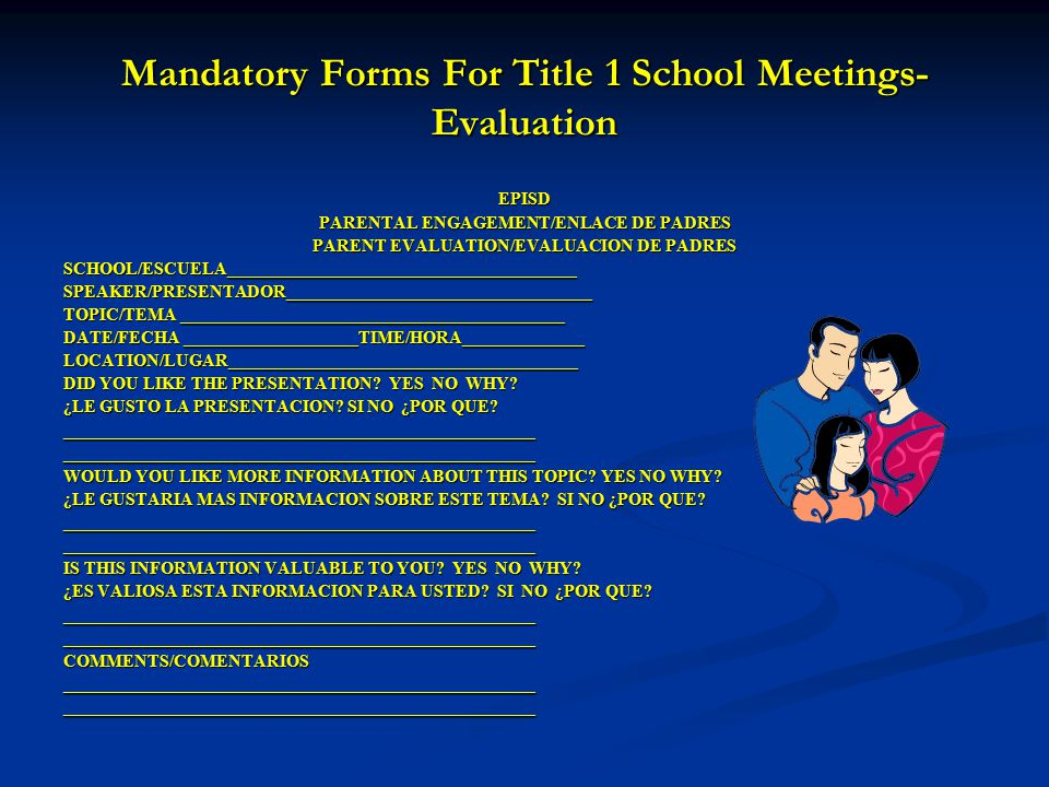 Mandatory Forms For Title 1 School Meetings-Evaluation