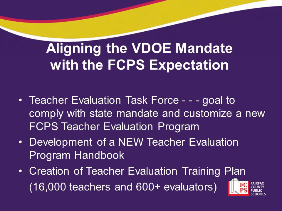 Aligning the VDOE Mandate with the FCPS Expectation