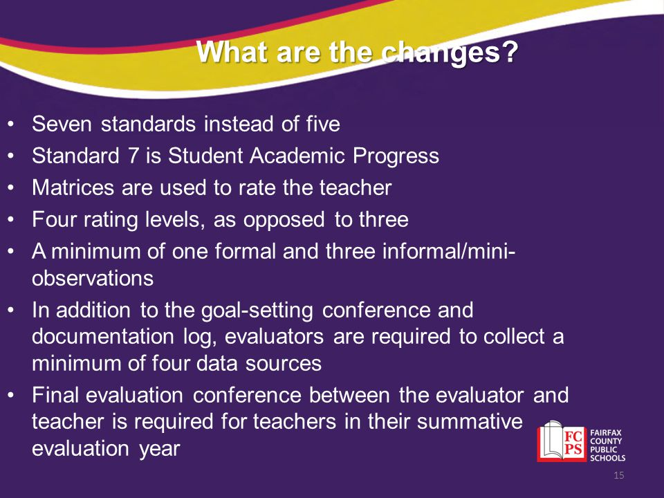 What are the changes Seven standards instead of five