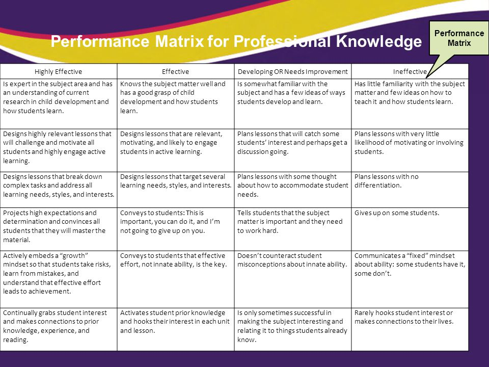 Performance Matrix for Professional Knowledge