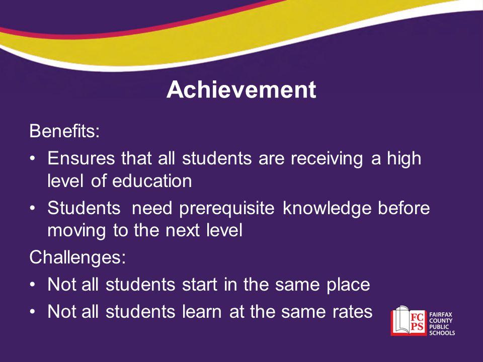 Achievement Benefits: