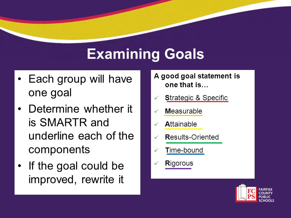 Examining Goals Each group will have one goal