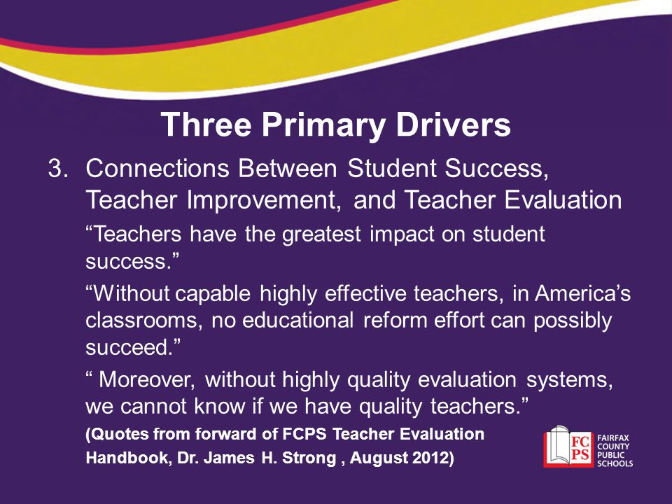 Three Primary Drivers Connections Between Student Success, Teacher Improvement, and Teacher Evaluation.