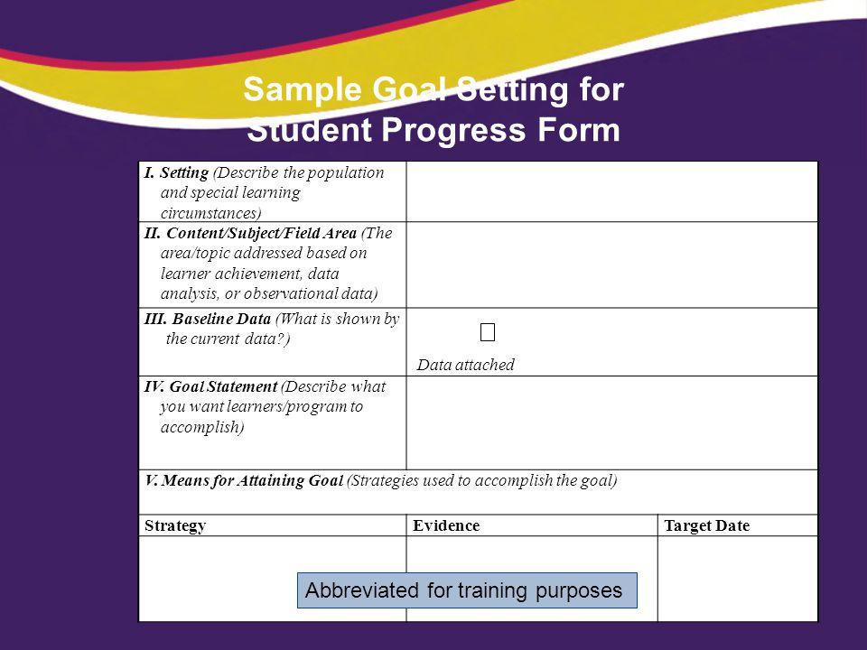 Sample Goal Setting for Student Progress Form