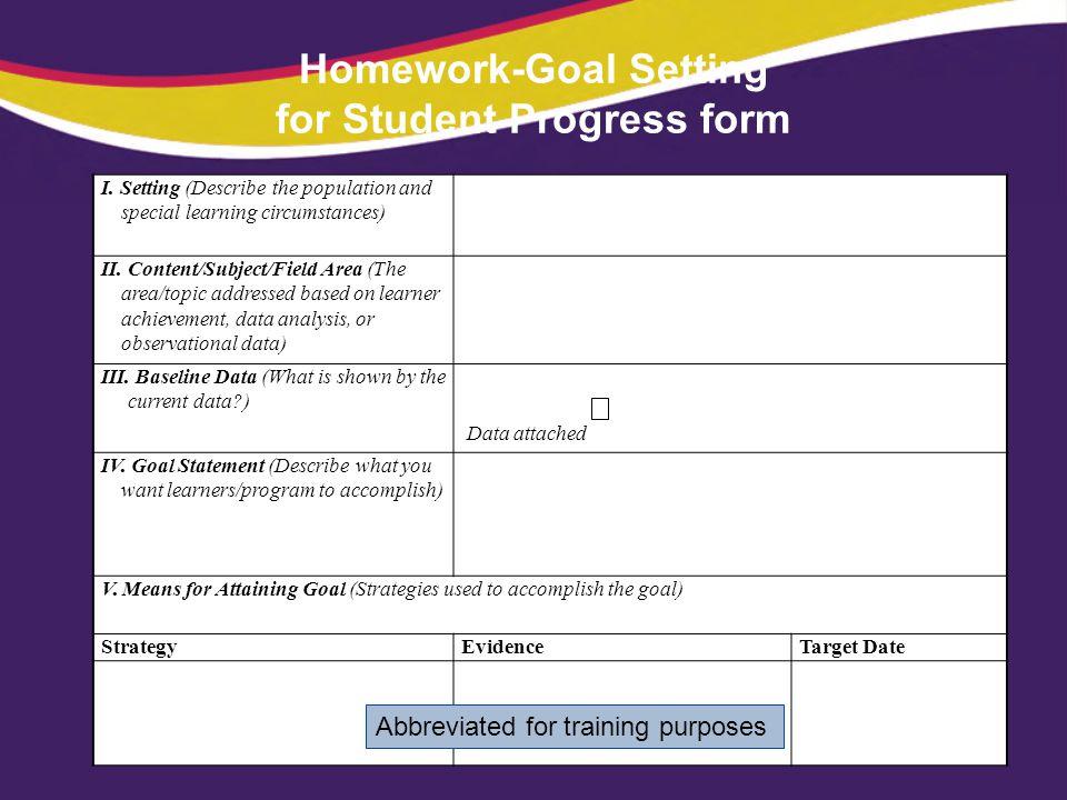 Homework-Goal Setting for Student Progress form