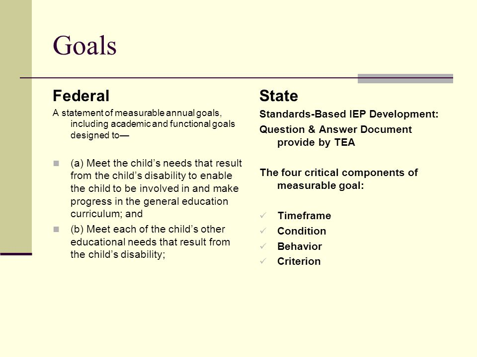 Goals Federal State Standards-Based IEP Development:
