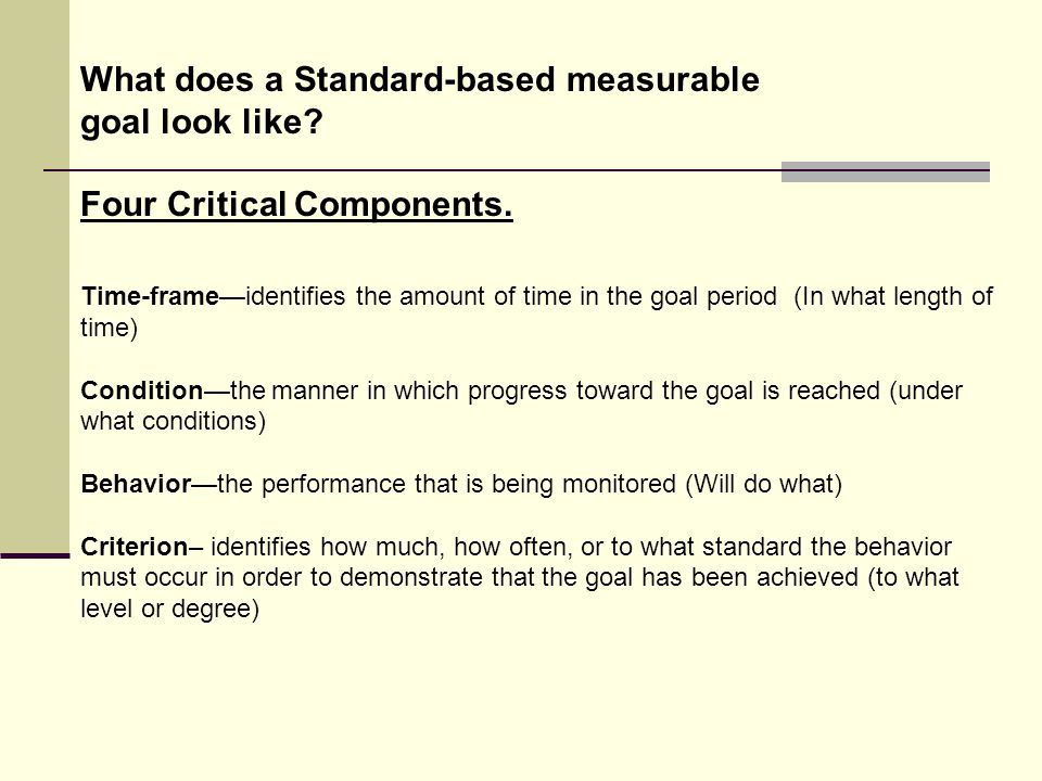 What does a Standard-based measurable goal look like